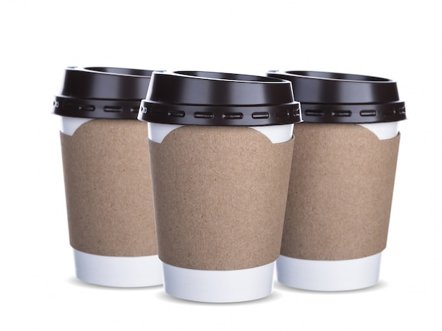 Coffee cups with cardboard grip