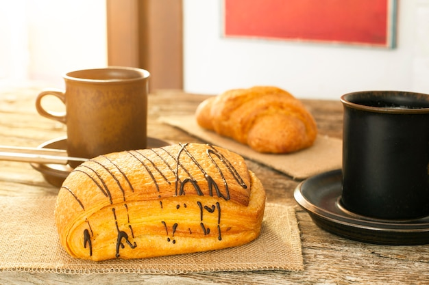 Coffee cups with puff pastry