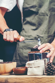 Coffee drip, coffee filter process, vintage filter image