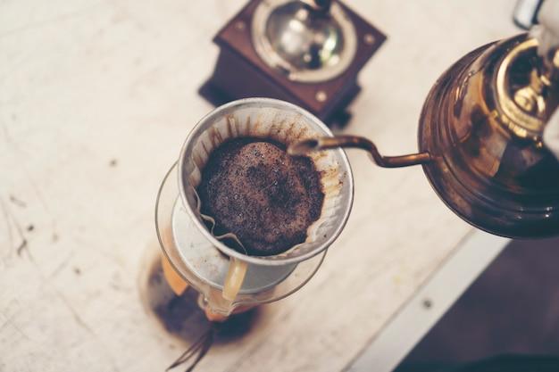 Coffee drip process, vintage filter image, slow bar