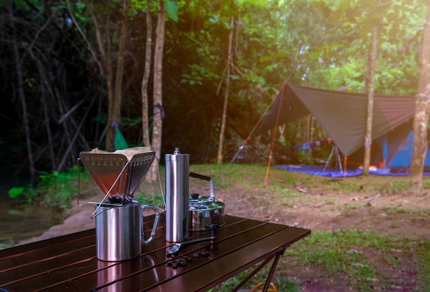 Coffee drip while camping in nature park