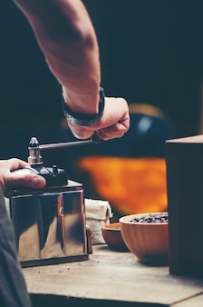 Coffee dripping filter process, vintage filter image