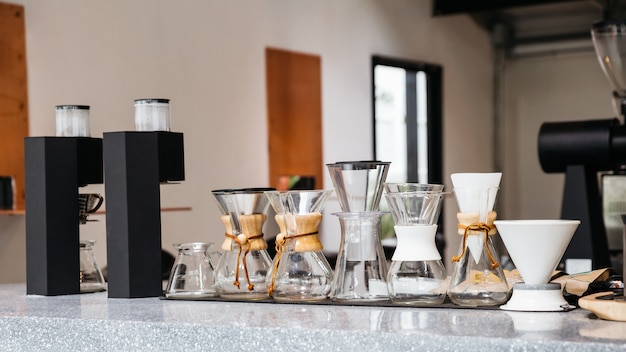 Coffee equipments with various sizes of drip coffee cups