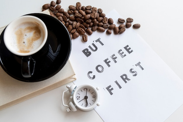 But coffee first quote with clock