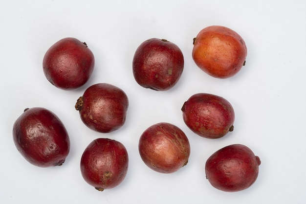 Coffee fruits cherry coffee on white background