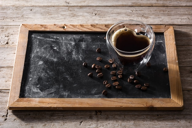Coffee in glass with heart shape