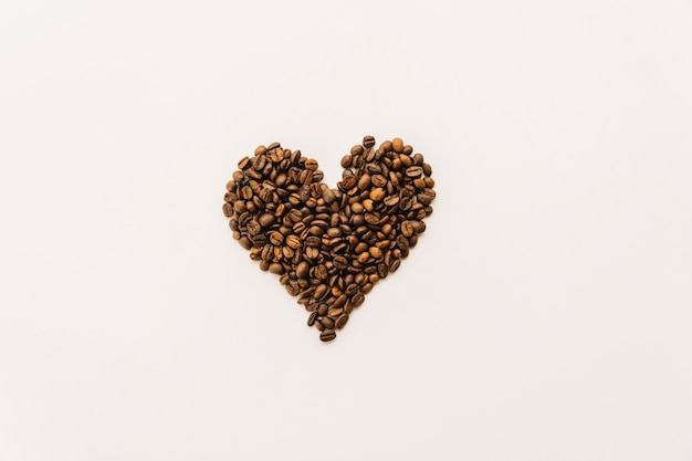 Coffee grains in heart form