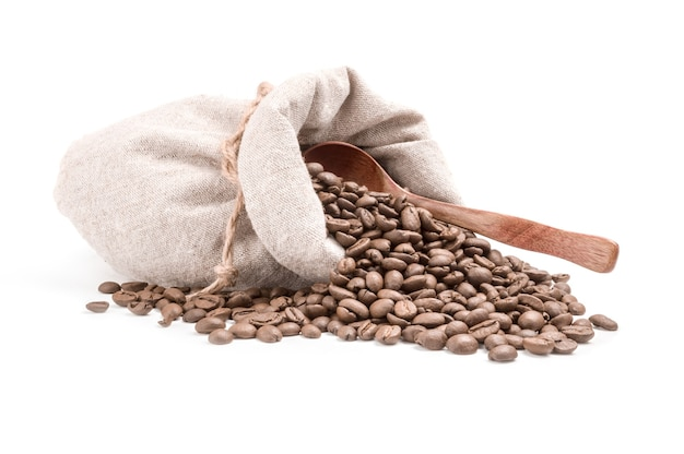 Coffee grains isolated on a white cutout