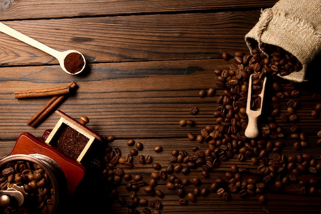 Coffee grinder and coffee background