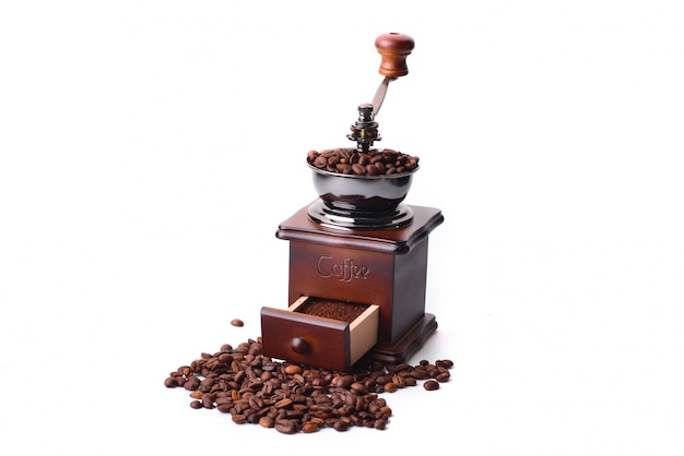 Coffee grinder on white background