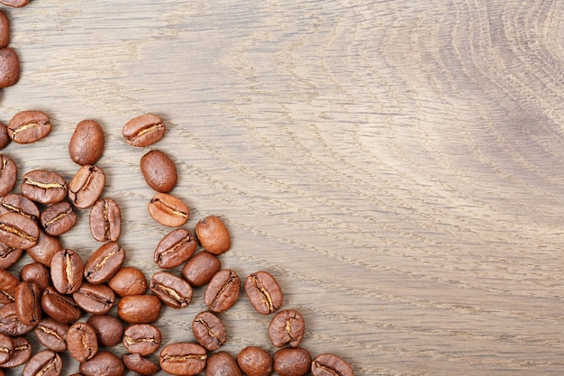 Coffee on grunge wooden background. high res macro photo.