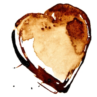 흰색 배경에 고립 된 커피 심장