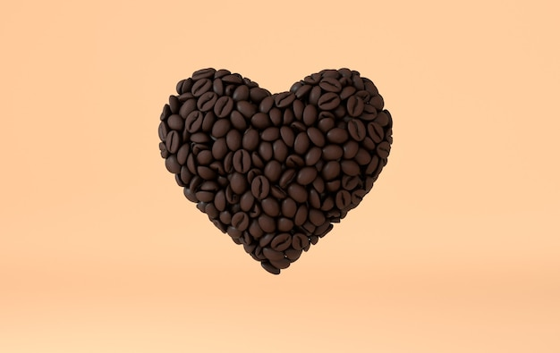 Coffee heart made of realistic coffee beans 3d rendering