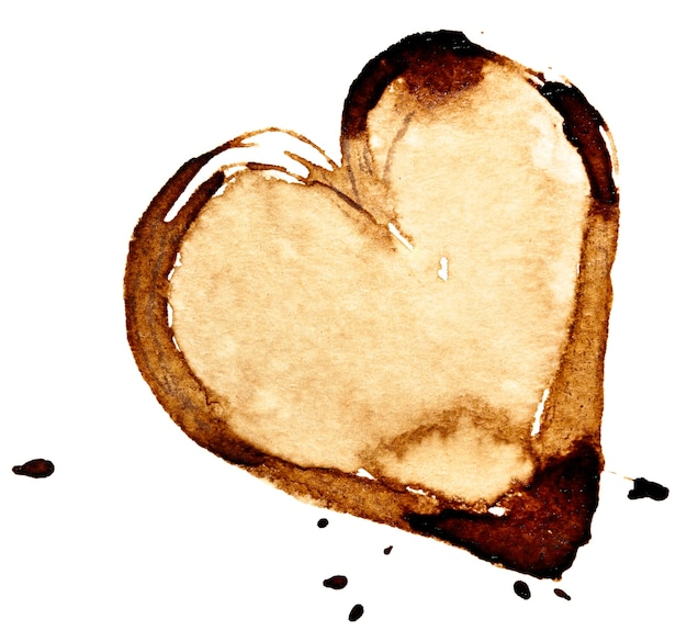 Coffee heart. stain isolated on the white background