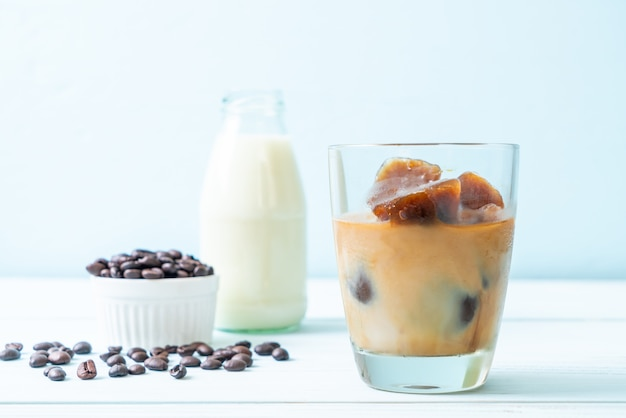 Coffee ice cubes with milk