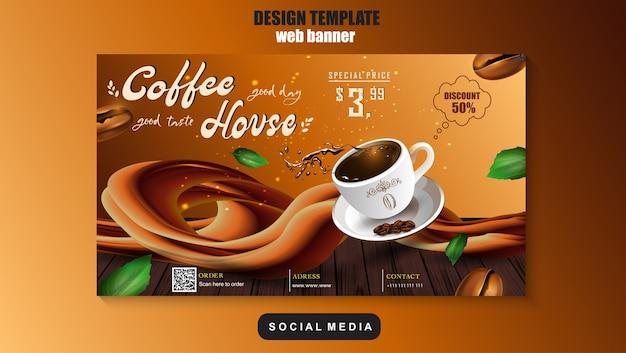 Шаблон продвижения кофе в интернете и социальных сетях. реклама, рекламный баннер, продуктовый маркетинг. eps 10.