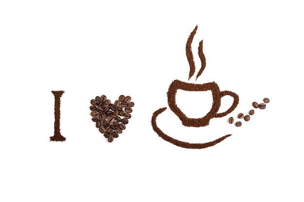Кофе изолированный на белой предпосылке с текстом кофе. концепция фона или текстуры.