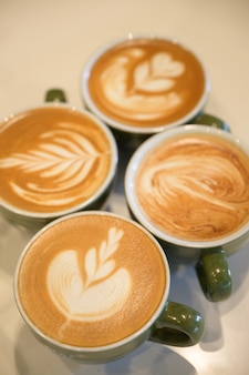 Coffee latte art, coffee cup