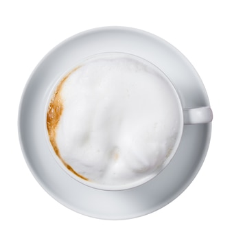 Coffee latte isolated on a white surface.