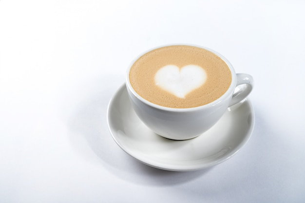 Coffee latte with heart shape, latte art