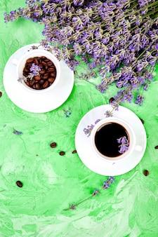 Coffee and lavender flowers Premium Photo