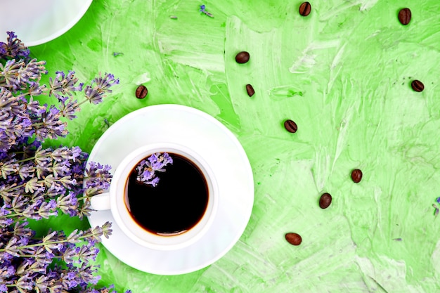 Coffee and lavender flowers