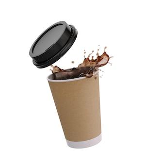 Жидкий всплеск кофе с бумажным стаканчиком