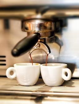 Coffee machine dispensing a double espresso