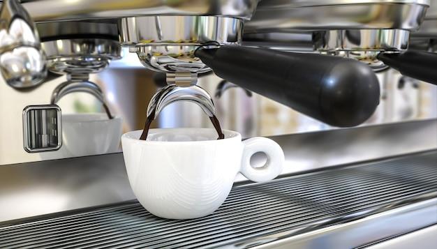 Кофемашина для приготовления эспрессо. 3d визуализация