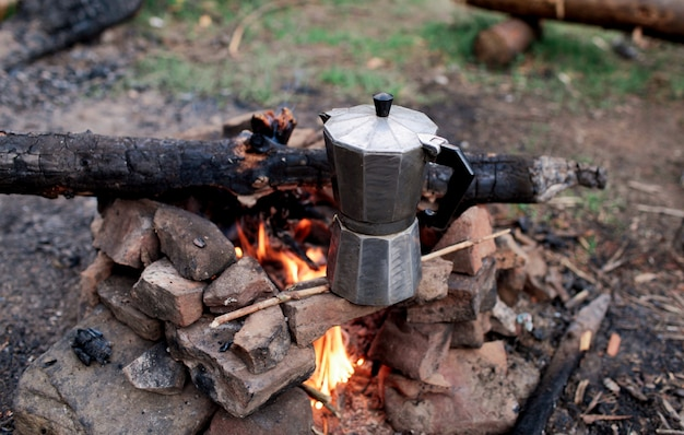 Coffee maker on fire in the mountains