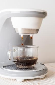 Coffee maker machine making coffee