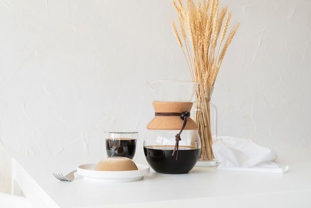 Coffee maker machine on table
