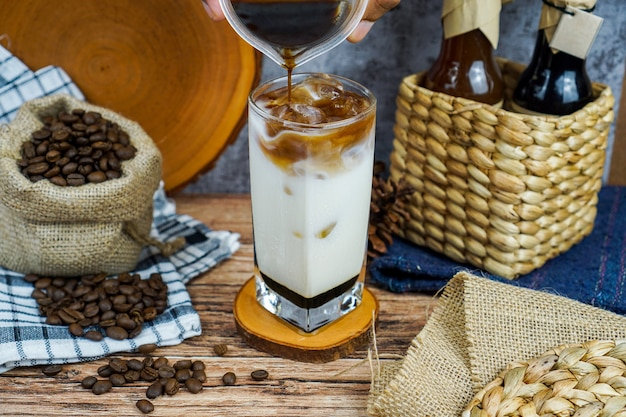 Coffee milk brown sugar product concept photography on coffee shop, just brew up a pot of your favorite coffee blend with milk and brown sugar