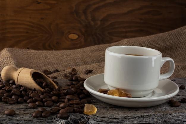 Coffee mug on rustic background