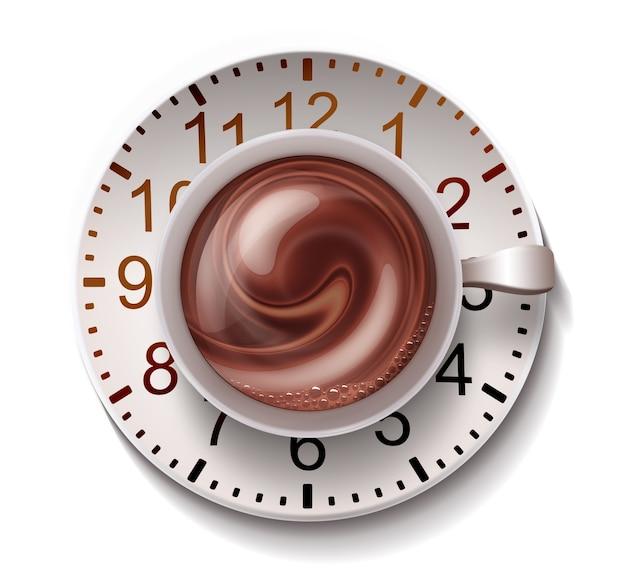 白い背景の上の時計とコーヒーマグ