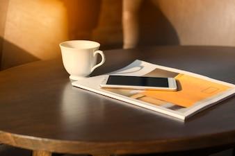 Coffee mugs, telephones