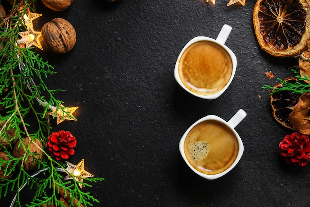 Coffee, new year, christmas background or noel holiday festive