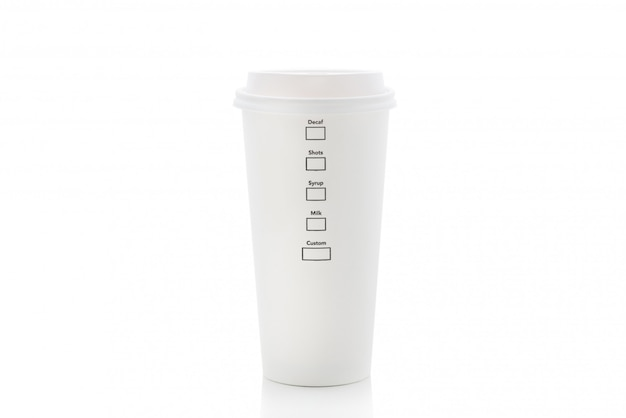 Coffee paper cup on isolated