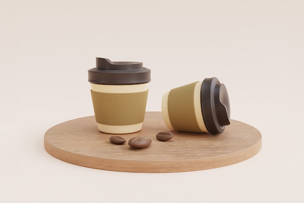 Coffee paper cups and beans