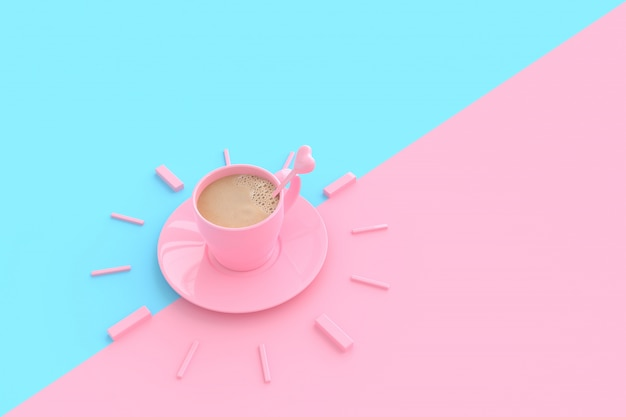 Coffee in pink cup creative  for time