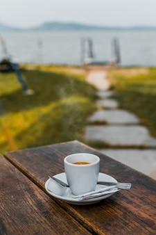 A coffee in plantation with natural and beans, fresh air, aroma caffe
