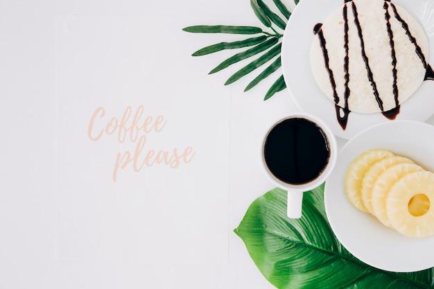 Coffee please text with healthy breakfast and green leaves on white background