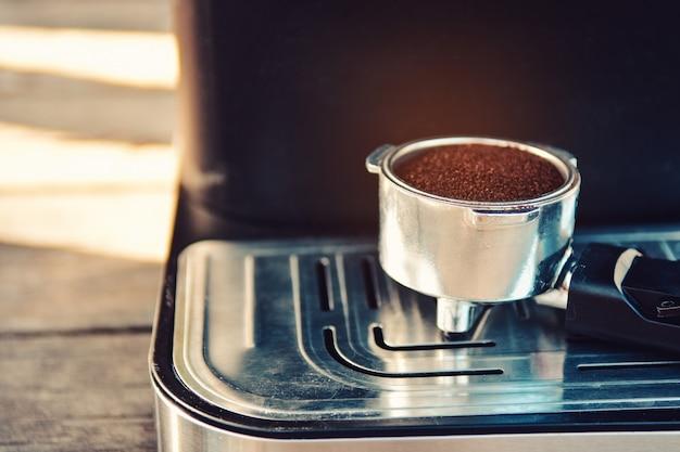 Coffee powder on coffee machine.
