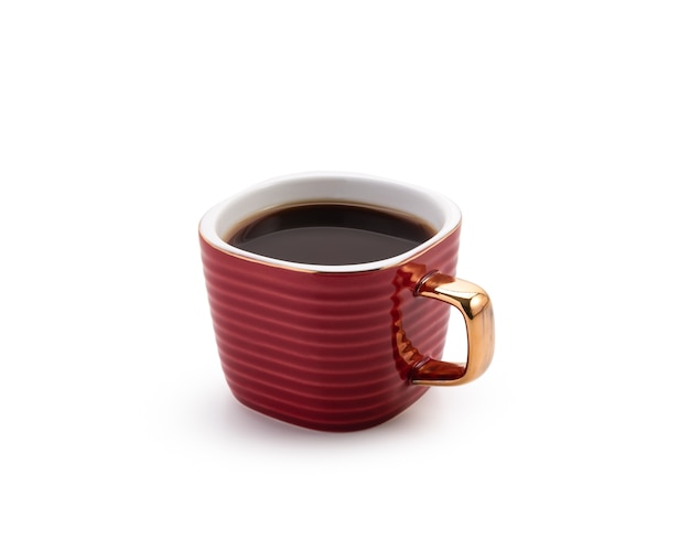 Coffee in red mug on white isolated