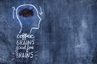 Coffee roasted beans in the outline head with text on blackboard