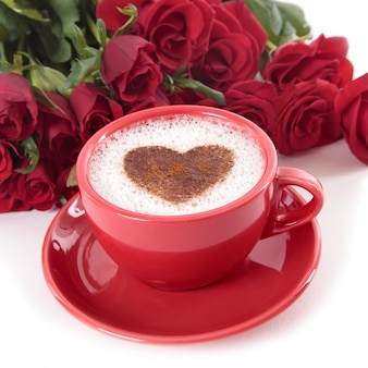 Coffee and roses for valentines day