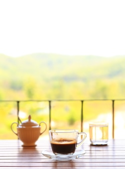 Coffee set with outdoor view