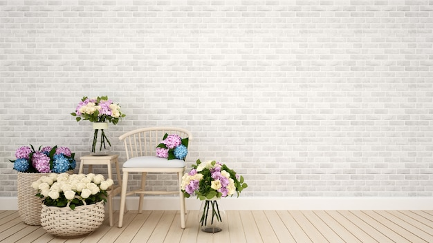 Coffee shop or living room decoration flower- 3d rendering