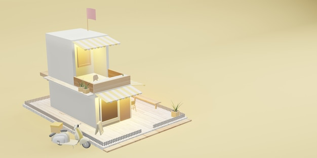 Coffee shop model restaurant model and delivery services cartoon images 3d illustrations