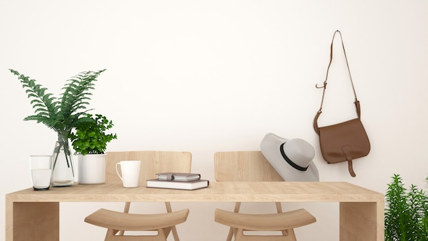 Coffee shop or workspace clean design - 3d rendering